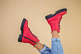 Ботинки женские кожа питон красные демисезонные, фото 6