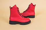 Ботинки женские кожа питон красные демисезонные, фото 8