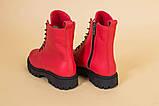 Ботинки женские кожа питон красные демисезонные, фото 10