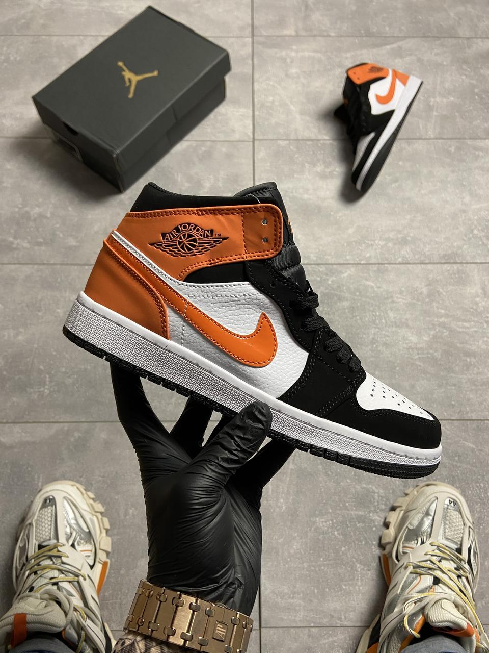 Nike Air Jordan 1 White Black Orange (Белый)