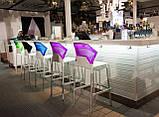 Барний стілець Papatya Ego-S чорне сидіння, верх прозоро-пурпурний, фото 2