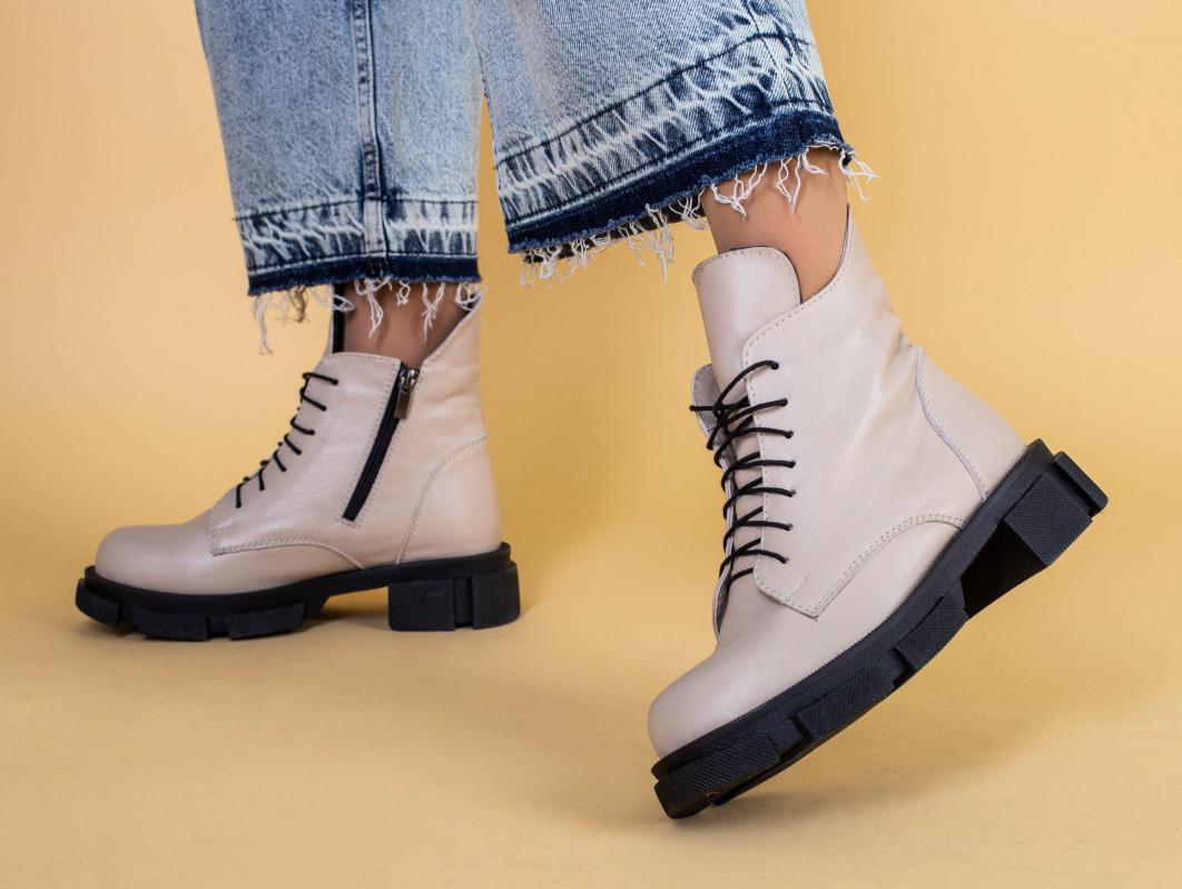 Ботинки женские кожаные бежевые демисезонные