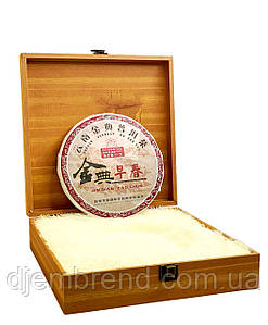 Чай Пуэр в подарочной деревянной коробке + сумка. Шу Пуэр Джин Дян, 375 г.