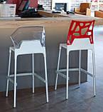 Барний стілець Papatya Ego-S біле сидіння, верх прозоро-червоний, фото 3