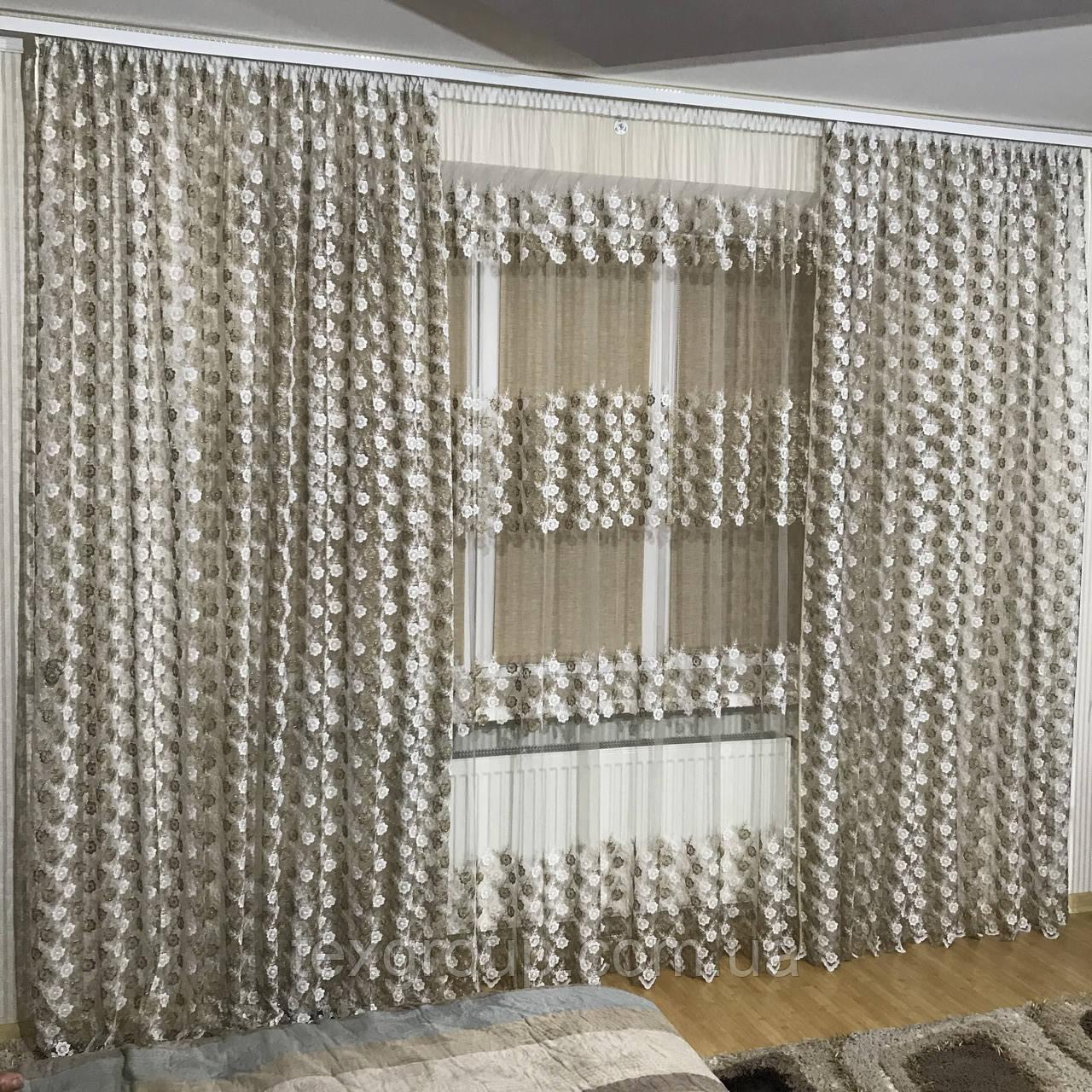 Тюль шторы компаньоны фатиноные