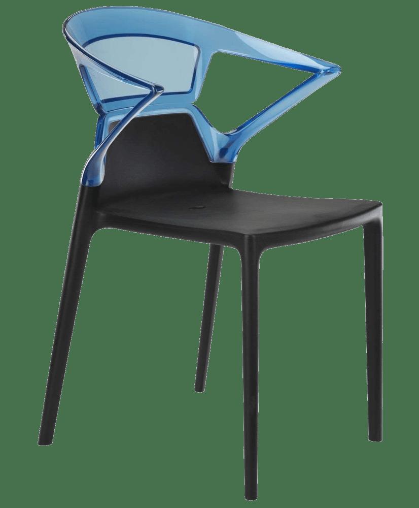 Кресло Papatya Ego-K черное сиденье, верх прозрачно-синий