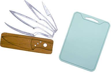 Набор разделочная доска силиконовая и комплект кухонных ножей на деревянной подставке 5 шт (n-804)