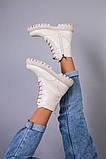 Черевики жіночі бежеві, на шнурках і з замком, на байку, фото 7