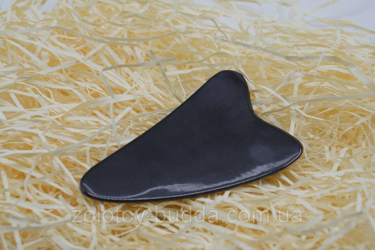 Скребок Гуаша ріг буйвола лапка 2-х палая чорна