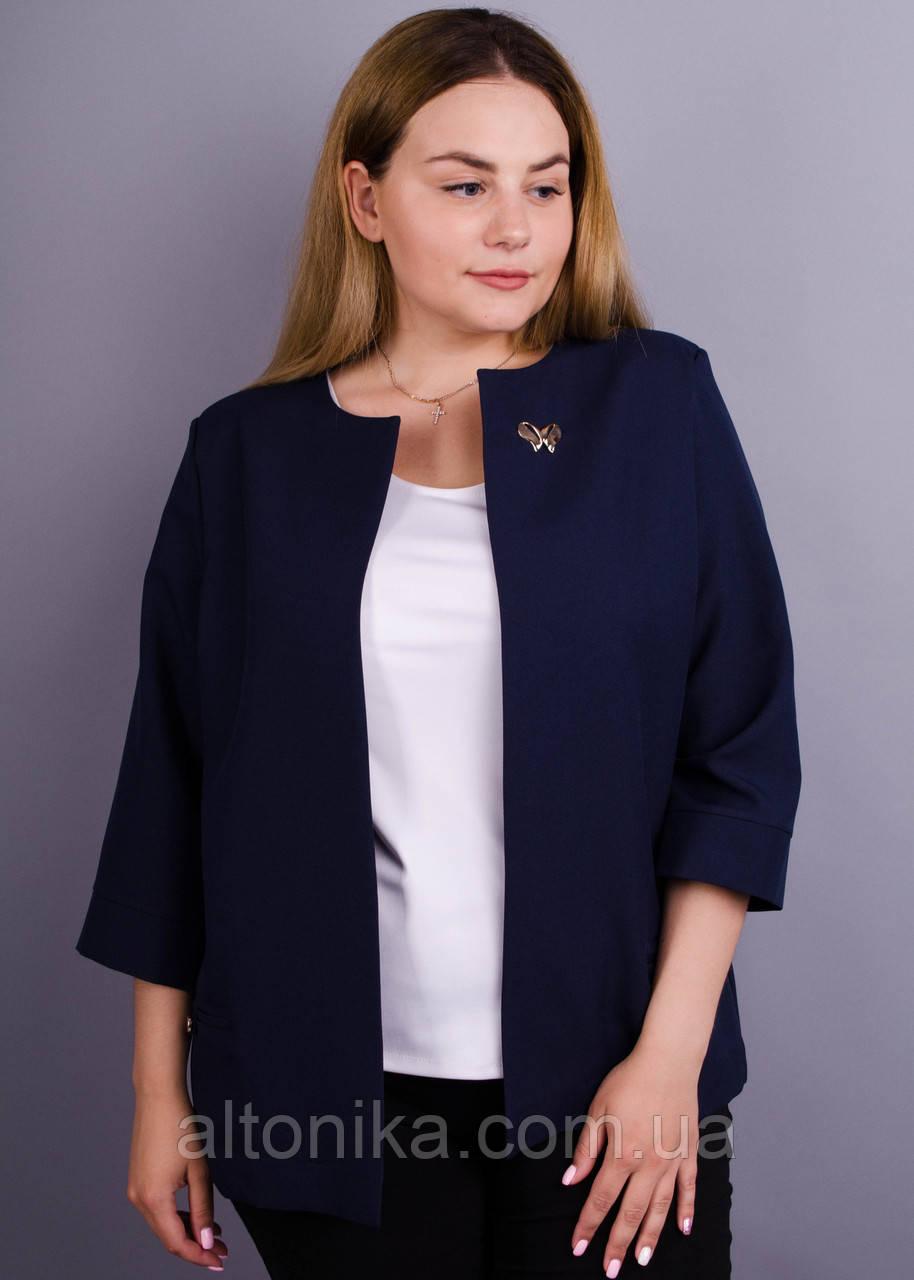 Омега. Офісний жіночий жакет великих розмірів. Синій.
