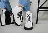 Ботинки женские кожаные белые на шнурках демисезонные, фото 2