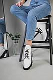 Ботинки женские кожаные белые на шнурках демисезонные, фото 3
