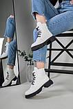 Ботинки женские кожаные белые на шнурках демисезонные, фото 4