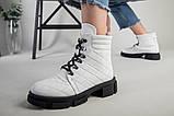 Ботинки женские кожаные белые на шнурках демисезонные, фото 5