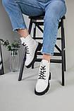 Ботинки женские кожаные белые на шнурках демисезонные, фото 6
