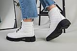 Ботинки женские кожаные белые на шнурках демисезонные, фото 8