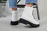Ботинки женские кожаные белые на шнурках демисезонные, фото 9