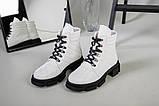 Ботинки женские кожаные белые на шнурках демисезонные, фото 10