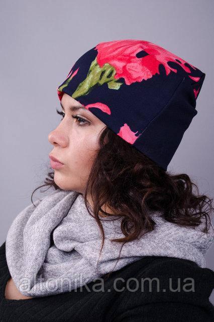 Фешн. Молодіжні жіночі шапки. Синій+прінт квітка.