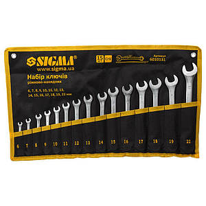 Ключі рожково-накидні 15шт (6-19, 22мм) CrV (тк чохол) SIGMA (6010131)