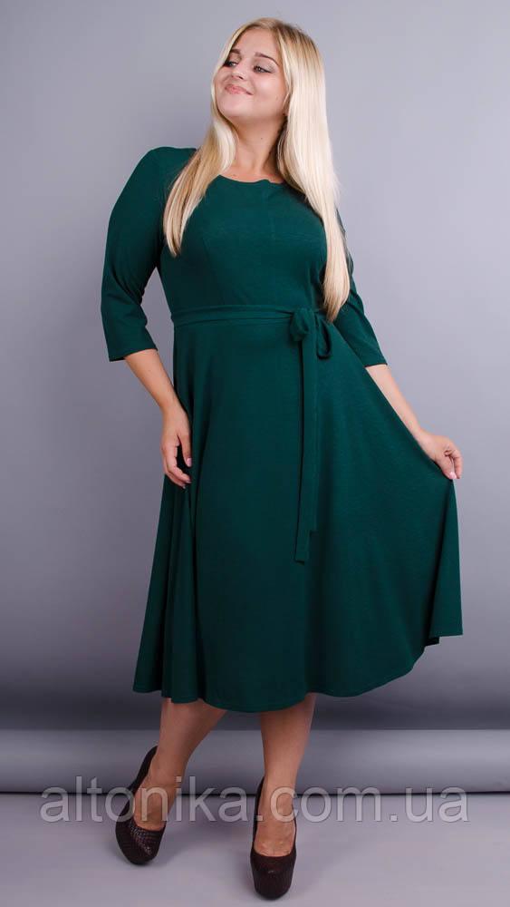 Кора. Елегантна сукня плюс-сайз. Смарагд.