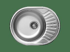 Кухонна мийка Kuchinox NORMAL 1-камерна с крилом, 570х450х160 мм, виконання сатин