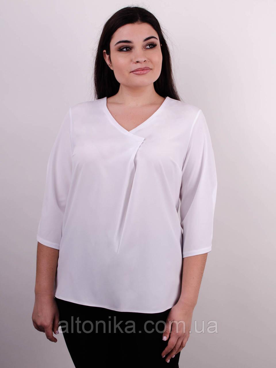 Леона. Оригінальна блуза плюс сайз. Білий.