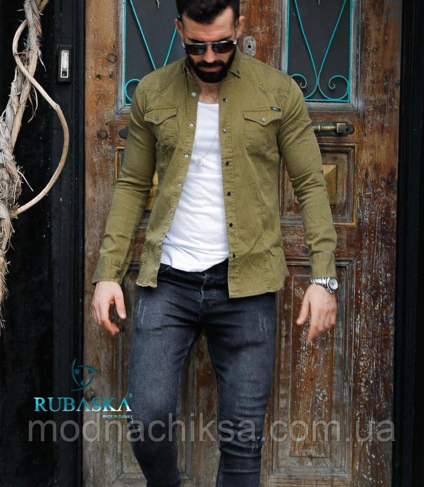 Болотна сорочка джинс на кнопках S, M