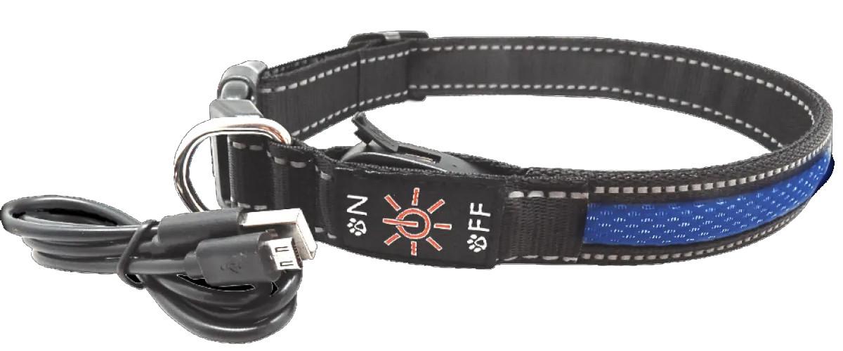 LED-ошейник AnimAll для собак (с подзарядкой USB) S 2.5/30-40см синий