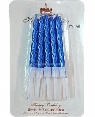 Свічка  для торту металік Синя з підставкою 9см (8 шт)
