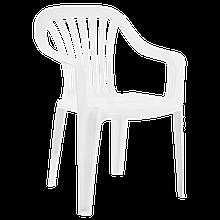 Кресло для сада дачи Papatya Тропик пластик до 200 кг нагрузки белое