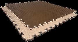 Татами мат (ласточкин хвост пазл) EVA 1х1м толщина 20 мм 80 кг/м3 (бежево-коричневые)