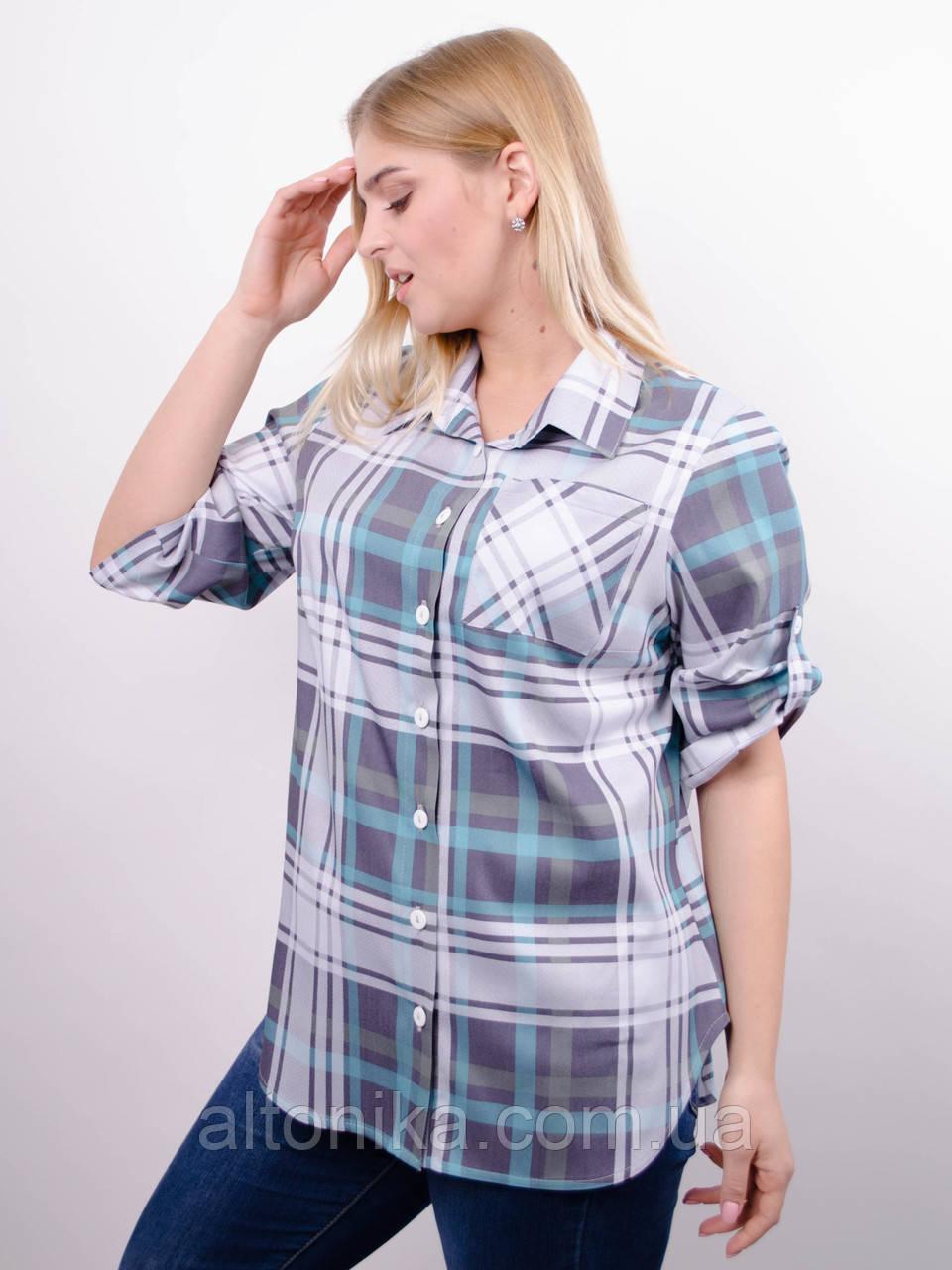 Делюкс. Стильна жіноча сорочка плюс сайз. Клітинка бірюза.