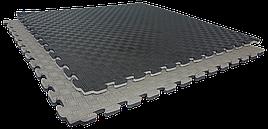 Татами мат (ласточкин хвост пазл) EVA 1х1м толщина 20 мм 80 кг/м3 (черно-серые)