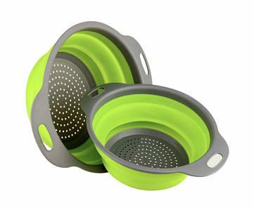 Дуршлаг силиконовый складной Collapsible filter baskets большой + маленький Зеленый (300674)