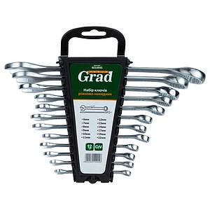 Ключі рожково-накидні 12шт (6-14, 17, 19, 22мм) CrV GRAD (6010945)