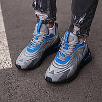 Мужские кроссовки Nike Air Max 270 React Grey\Blue Фабричный Вьетнам реплика