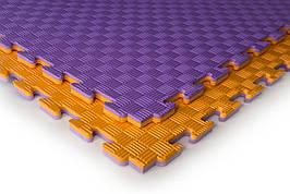 Татами мат (ласточкин хвост пазл) EVA 1х1м толщина 20 мм 80 кг/м3 (фиолетово-оранжевые)