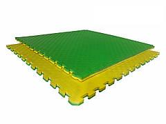 Татами мат (ласточкин хвост пазл) EVA 1х1м толщина 20 мм 80 кг/м3 (желто-зеленые)