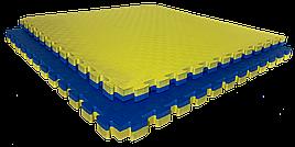 Татами мат (ласточкин хвост пазл) EVA 1х1м толщина 30 мм 80 кг/м3 (жёлто-синяя)