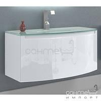Мебель для ванных комнат и зеркала Marsan Тумба подвесная со стеклянной раковиной Marsan Madeleine 900 белый глянец