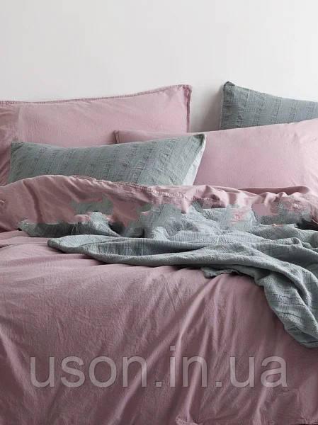 Комплект постільної білизни з вареного бавовни полуторний розмір Limasso natural violet standart