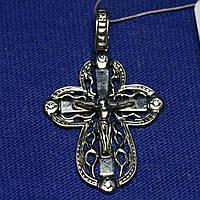 Серебряный крестик с фианитами Распятие 400850 юм