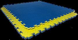 Татами мат EVA 120 кг/м3 26 мм 1х1м (желто-синие) (MF 3070)