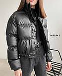 Куртка жіноча демісезонна з шкірозамінника, фото 4