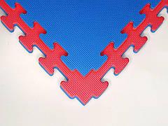 Татами мат (ласточкин хвост пазл) EVA 1х1м толщина 20 мм 100 кг/м3 (красно-синие)