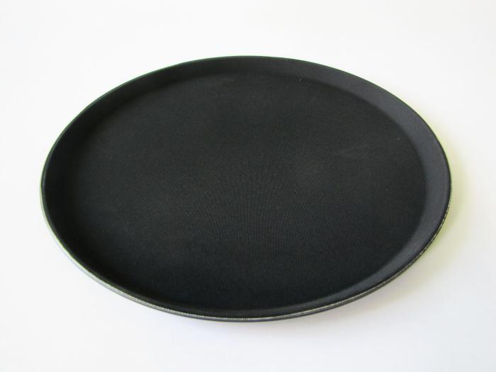 Піднос антісліп круглий чорний 280 мм