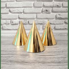 Колпак праздничный 15 см., Зеркальное золото