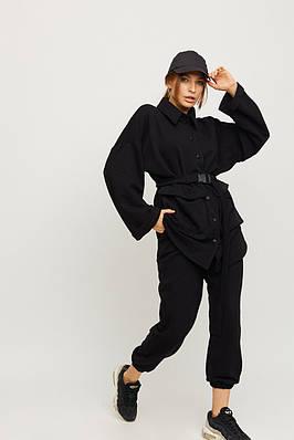 Модный повседневный черный костюм из трехнитки