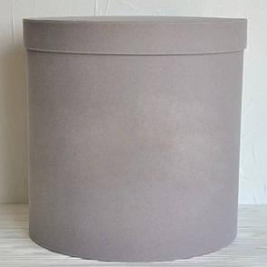 Бархатная круглая коробка для цветов d=25 h=25 см